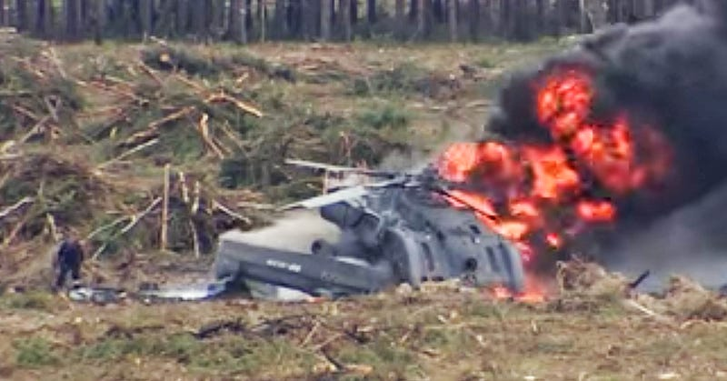 Illustration for article titled A Mi-28 Spun Out And Crashed During A Russian Air Show
