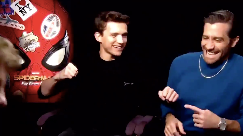 Illustration for article titled Jake Gyllenhaal is off his rocker and Tom Holland is scared