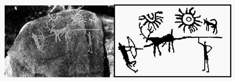 La roca y el dibujo encontrado. Imagen:  Indira Gandhi National Centre for the Arts