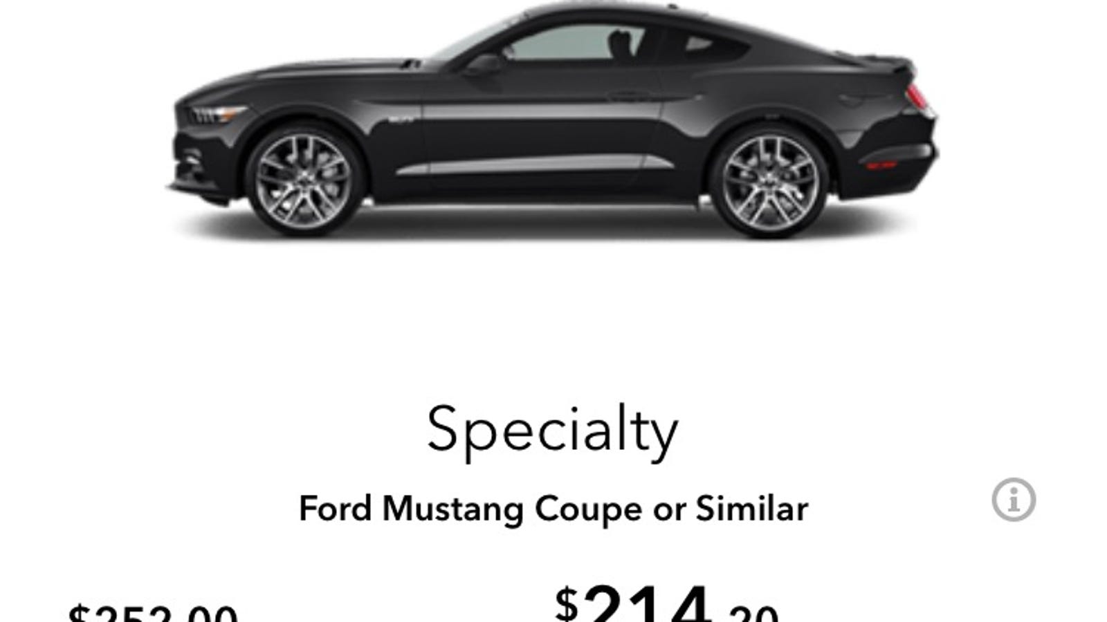 Anyone Ever A Mustang Coupe Or Similar From Avis Ok I Ed It Pre Paid