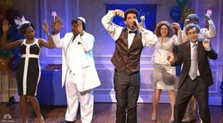 The Jan. 18 edition of NBC's Saturday Night Live, hosted by Drake, center, featured the first appearance of Sasheer Zamata, left, the show's newest cast member.Courtesy NBC's Saturday Night Live