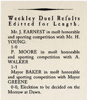 Illustration for article titled Historical Archives: Weekley Duel Results