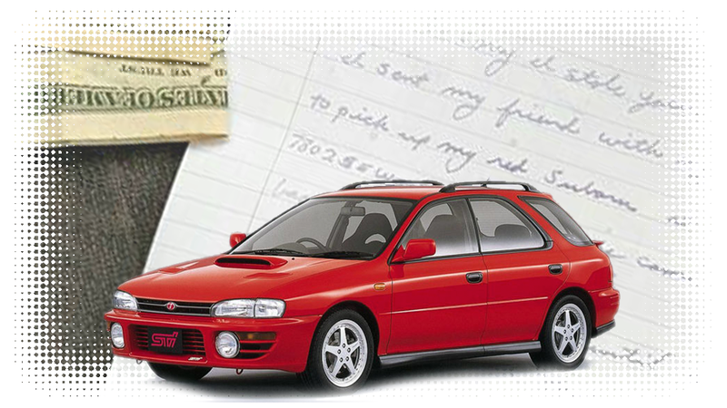 Illustration for article titled 'Accidentally Stolen' Subaru Returned With Gas Money And A Nice Note