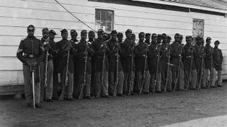 The men in this picture are from the 4th United States Colored Infantry in 1864.  Wikimedia Commons