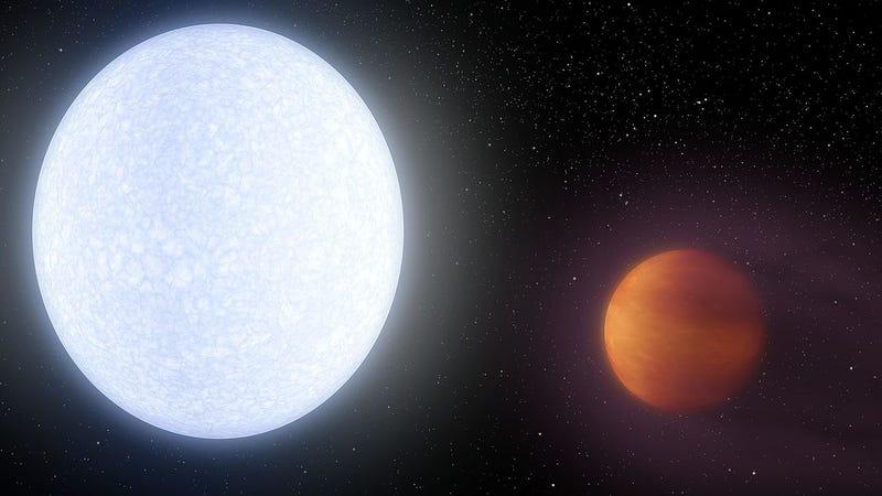 Artist's impression of planet KELT-9b orbiting the star KELT-9