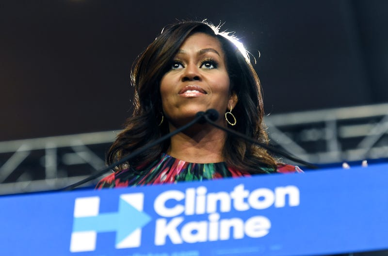 First lady Michelle Obama stumps for Hillary Clinton during a speech Oct. 4, 2016, at the Charlotte Convention Center in North Carolina.John D. Simmons/Charlotte Observer/TNS via Getty Images
