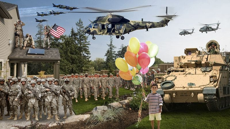 Illustration for article titled True Heroes: When Nobody Came To This 12-Year-Old's Birthday Party, The Entire United States Military Showed Up To Celebrate With Him