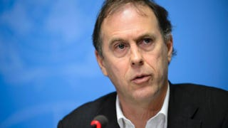 United Nations High Commissioner for Human Rights spokesperson Rupert Colville gives a press briefing  Jan. 29, 2016, in Geneva on new claims of child abuse by foreign troops in Africa.FABRICE COFFRINI/AFP/Getty Images
