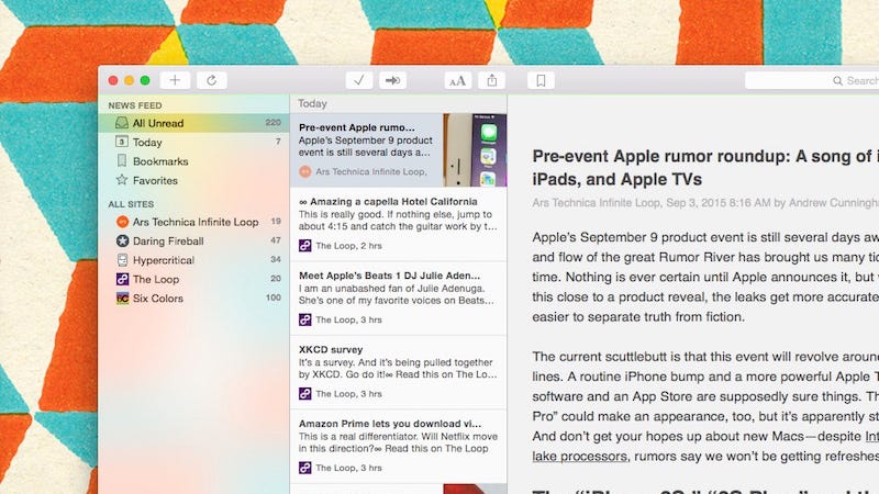 Illustration for article titled NetNewsWire, the Classic RSS Reader for Mac, Returns with Modern Features