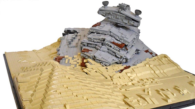 Illustration for article titled This Lego Model Reveals the Beauty of a Crashed Star Destroyer