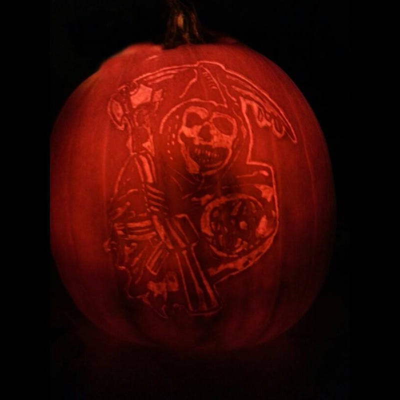 Illustration for article titled Carved a pumpkin. Any SOA fans?