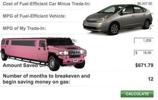 gas mileage savings calculator shows true cost of trading your