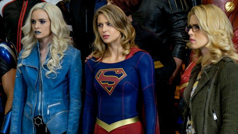 Danielle Panabaker as Caitlin Snow/Killer Frost, Melissa Benoist as Kara/Supergirl and Emily Bett Rickards as Felicity Smoak (Photo: Robert Forester/The CW)