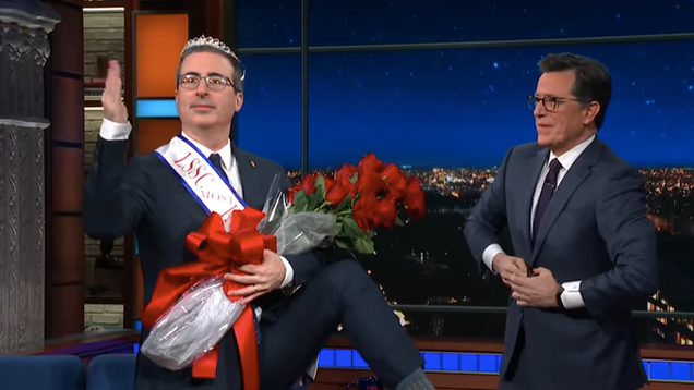 """Fuck you, Bernie!""—John Oliver is crowned king of The Late Show guests"