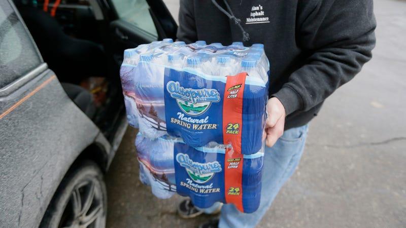 Donated water bottles in Flint in 2016.
