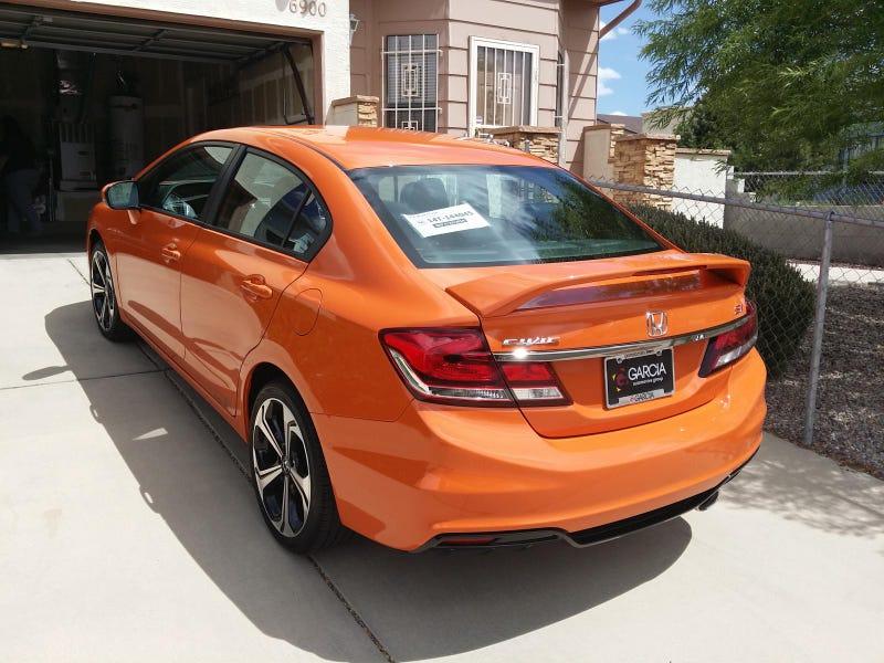 2015 honda civic si sedan in orange fire pearl