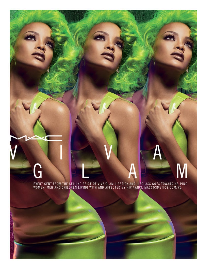 Illustration for article titled Rihanna Rocks Slime Green Hair in New MAC Ad