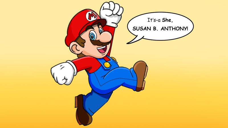 Illustration for article titled Feminism Win! This Artist Reimagined Mario As Saying 'It's-a She, Susan B. Anthony!'