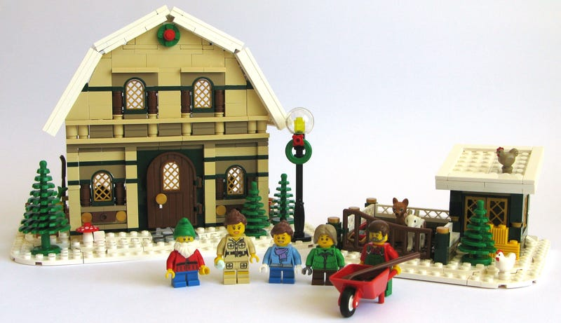 Illustration for article titled This Lego barn house is the perfect addition to the winter village