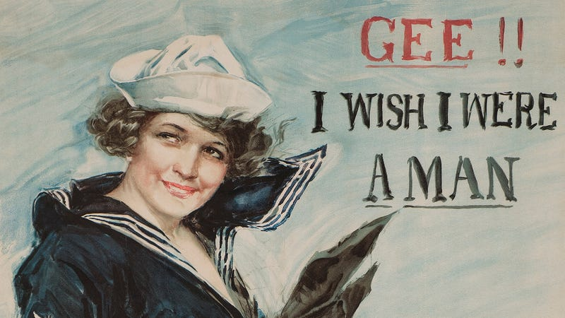 "Image: Howard Chandler Christy (American, 1873-1952), ""Gee!! I Wish I Were a Man,"" 1917. Courtesy Bruce Museum."