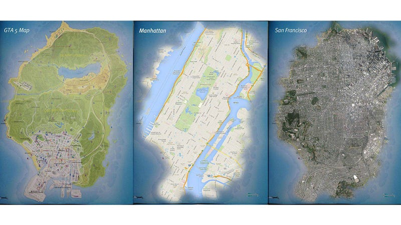 Gta 5 map compared to the google maps of major cities after the enormous map for grand theft auto v leaked online the internet has had a ball geeking out on the render of los santos and blaine counties gumiabroncs Images