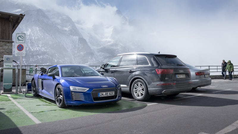 Illustration for article titled Here's The Electric Audi R8 e-Tron Running Around In The Alps