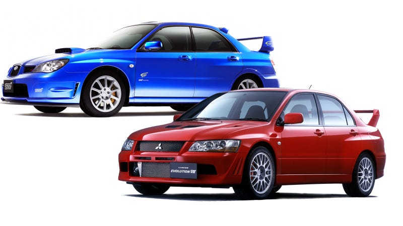 Illustration for article titled Subaru Impreza WRX and STI VS. Mitsubishi Lancer Evolution: Who Ya Got?