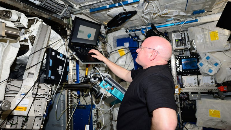 Astronaut Scott Kelly taking a cognitive test during his one-year-long mission on board the International Space Station