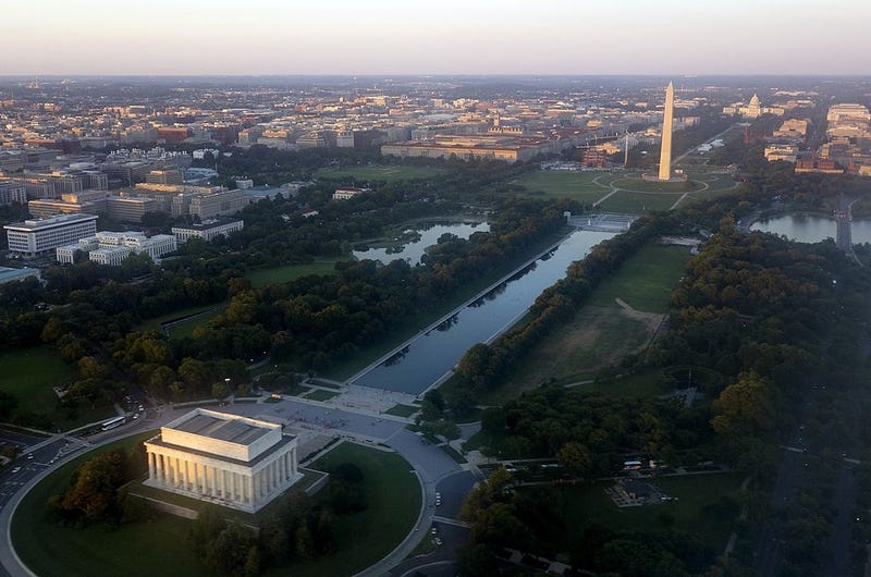The skyline of Washington, D.C., including the Lincoln Memorial, Washington Monument, U.S. Capitol and National Mall, is seen from the air at sunset in this photograph taken on June 15, 2014. SAUL LOEB/AFP/Getty Images