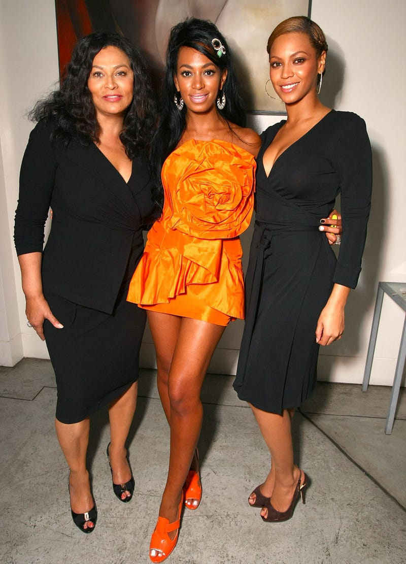 Tina Knowles Lawson, Solange Knowles and Beyoncé Knowles attend Solange's birthday party at a private residence on June 23, 2008, in Los Angeles. Alberto E. Rodriguez/Getty Images