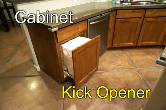 Modify a Kitchen Cabinet So You Can Kick to Open It