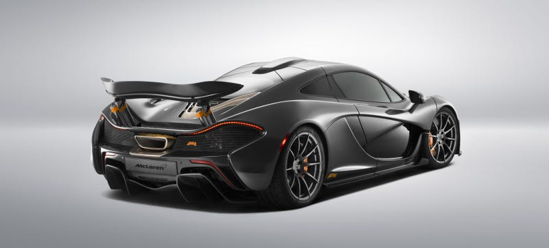 Illustration for article titled This Stealth Grey And Orange Bespoke McLaren P1 Is A Symphony Of Evil