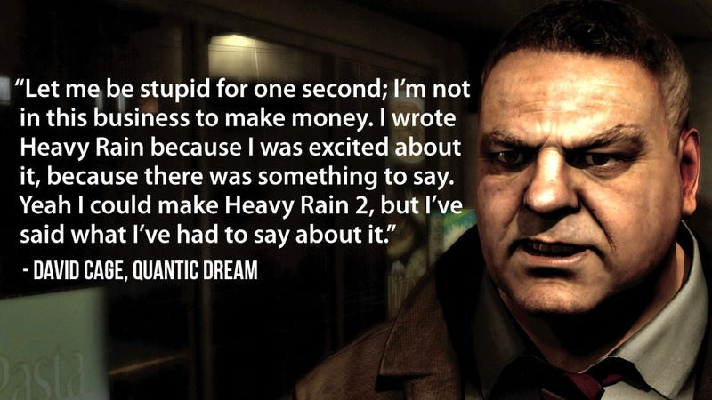 Illustration for article titled Heavy Rain's Creator Doesn't Sound Stupid at all