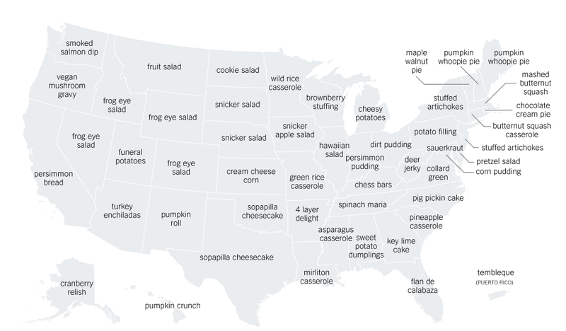 Illustration for article titled Map: Every State's Most Distinct Thanksgiving Recipe