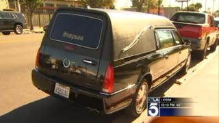The hearse, which was parked in front of the church, was stolen an hour beforeJonté Lee Reed's funeral.KTLA