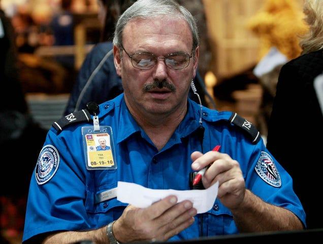 TSA Guy Circling Stuff On Boarding Pass With Reckless Abandon
