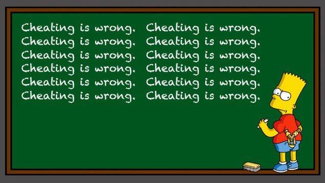 is cheating bad Cheating is bad 146 likes this page gives out information on why cheating is unethical and how to prevent or put a stop to this act.