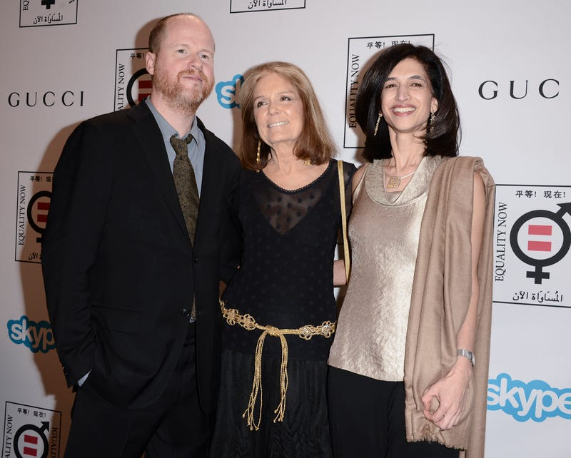 Whedon, left, with journalist Gloria Steinem and Equality Now Global Director Yasmeen Hassan (Image via AP)