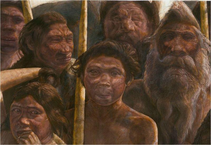 Interpretación artística de los restos de homínidos encontrados en el yacimiento de Atapuerca (España). Javier Trueba, Madrid Scientific Films.