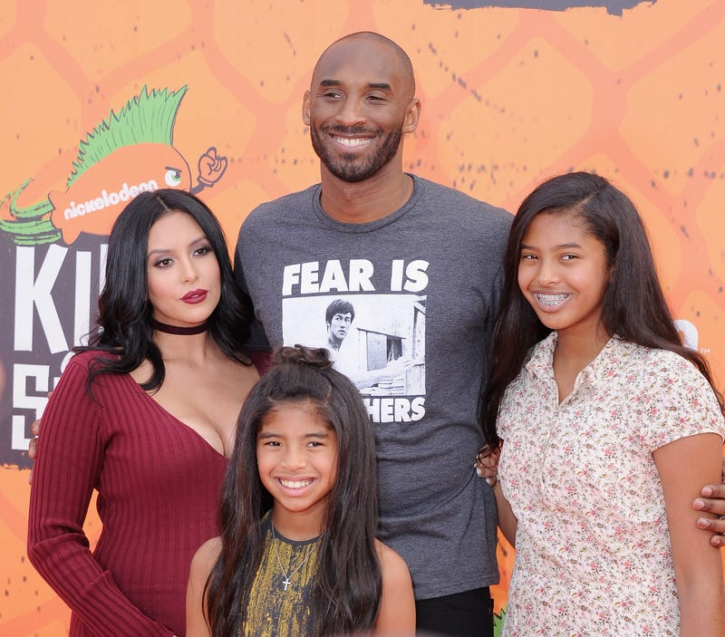 Kobe Bryant (center); his wife, Vanessa Laine Bryant; and his daughters, Gianna Maria-Onore Bryant and Natalia Diamante Bryant, arrive at the Nickelodeon Kids' Choice Sports Awards July 14, 2016, in Westwood, Calif.Jon Kopaloff/FilmMagic