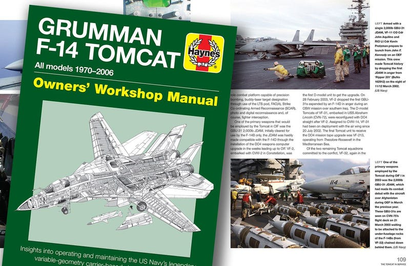 Illustration for article titled There's Now A Haynes Repair Manual For The F-14 Tomcat