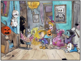 """Illustration for article titled Costumed children meet gruesome ends in """"The Last of the Trick-Or-Treaters"""" webcomics"""