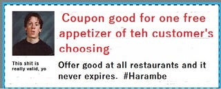 Illustration for article titled Today's Best Deals: Free Appetizer Coupon