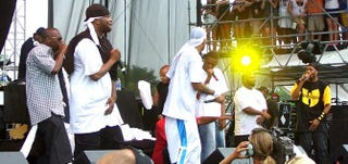 Wu-Tang Clan in 2007: Mathematics (in rear), Inspecta Deck, Street Life, U-God, Method Man, Cappadonna (crouched, wearing red), GZA, Raekwon and RZAWiki Commons