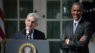 Judge Merrick B. Garland speaks in the Rose Garden of the White House as President Barack Obama looks on March 16, 2016,after being nominated to the U.S. Supreme Court by Obama to replace the late Justice Antonin Scalia.Chip Somodevilla/Getty Images