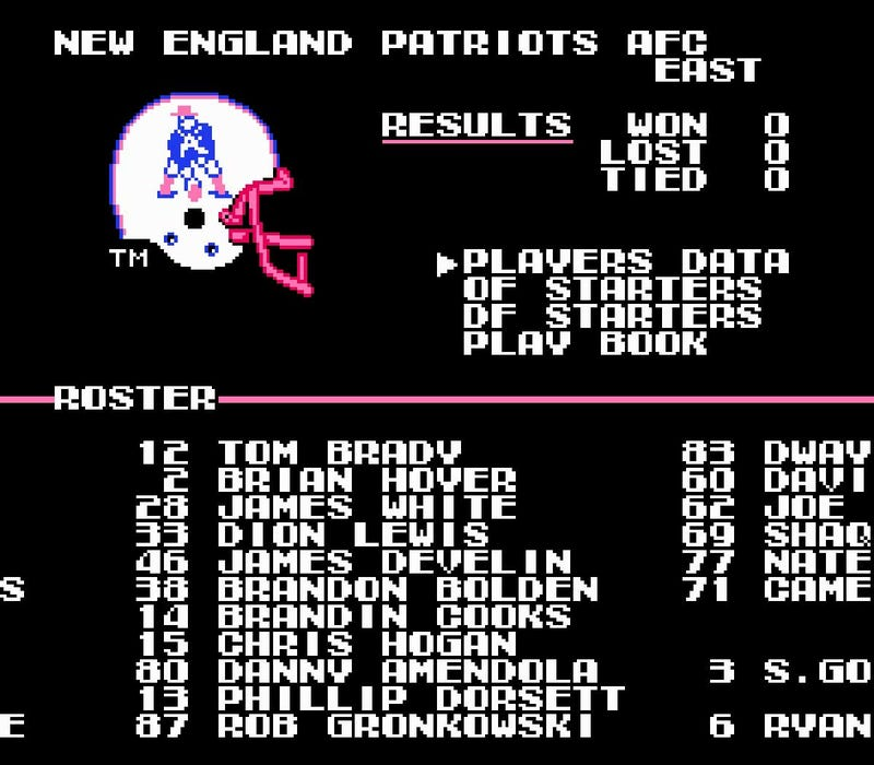 Illustration for article titled Please Enjoy This Tecmo Super Bowl Simulation Of Tonight's Titans-Patriots Game
