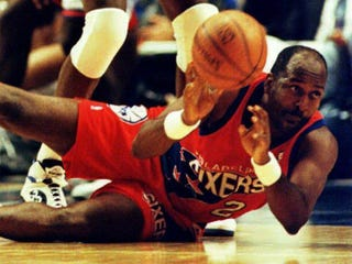 Moses Malone of thePhiladelphia 76ers in 1993MARK PHILLIPS/AFP/Getty Images