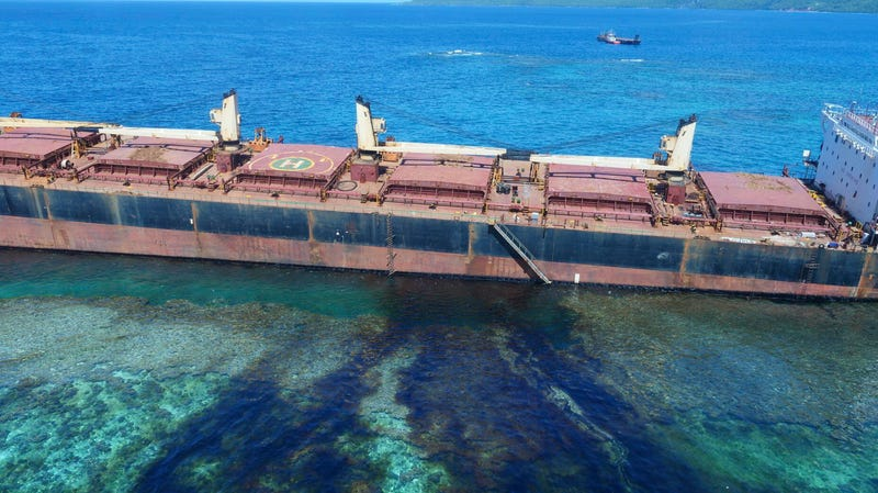 """The """"MV Solomon Trader"""" ship, which ran aground February 5, is leaking oil next to a UNESCO World Heritage site."""