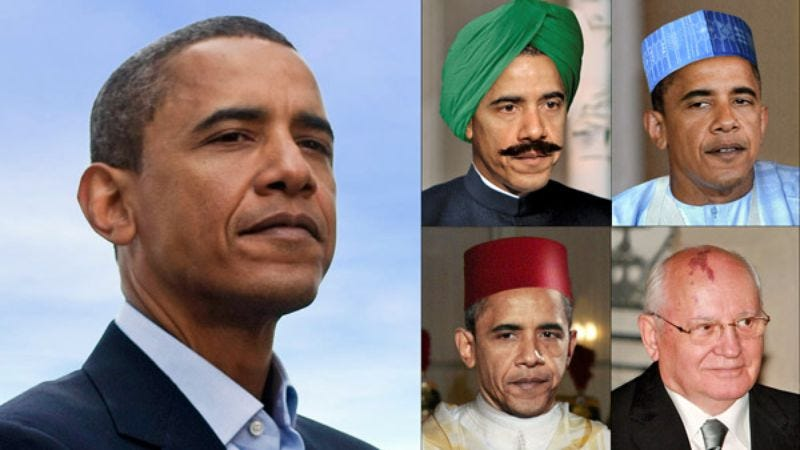 Barack Obama as he appeared to millions of Americans, along with four of the president-elect's former disguises.