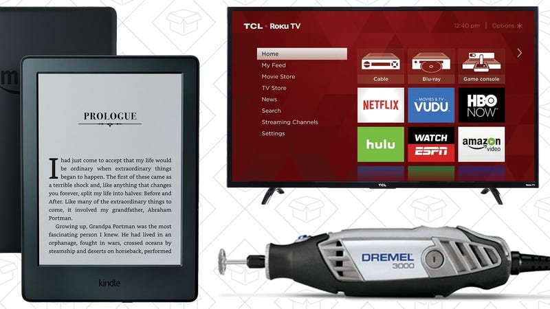 Illustration for article titled Today's Best Deals: $50 Kindle, Cheap 4K TVs, Discounted Dremel, and More
